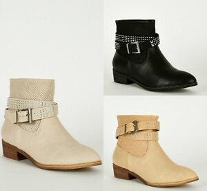 New womens leatherette strap with diamante detail ladies ankle boot shoes 3-8