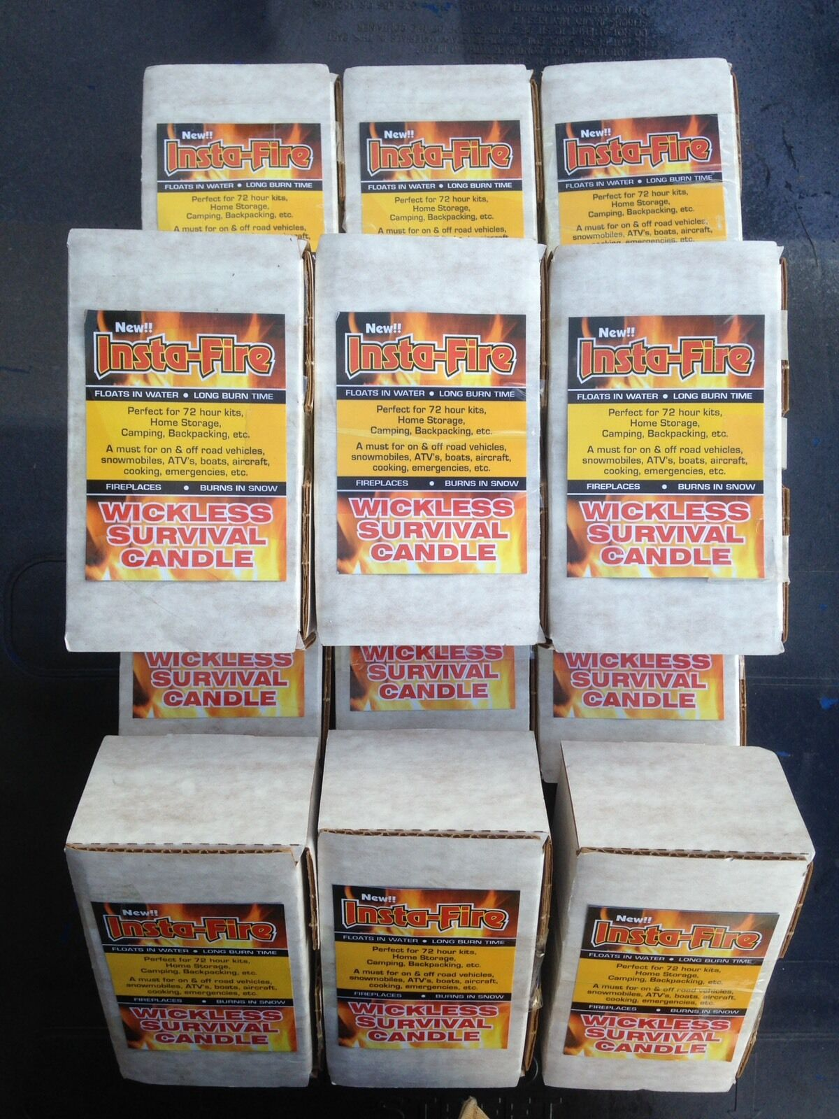 Lot of 8- Preppers Insta-Fire Survival Fire 8 Boxes 96 Total