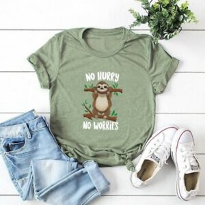 Womens-Funny-Sloth-T-shirt-Cute-Lazy-Shirts-Fashion-Summer-Top-Plus-Size-Blouse
