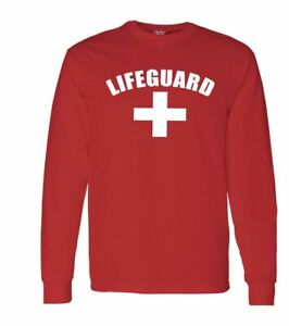 Life-Guard-Long-Sleeve-Shirts-Lifeguard-Red-White-Tee-Beach-Safety-Pool-Staff