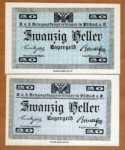 Austria-20-Heller-POW-WWI-Campbell-C1314-UNC