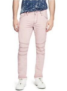 Dettagli su G da Guess Uomo Pastello Moto Moderno Skinny Jeans Stretch Luce Rosa Taglia 36