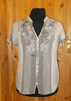 PER UNA grey striped floral gypsy boho short sleeve blouse shirt top tunic 16 44