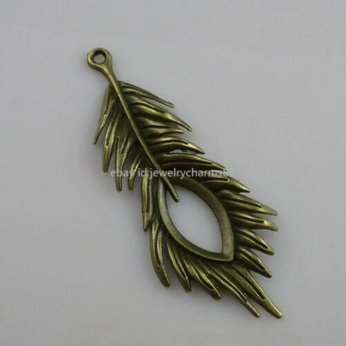 10202 7PCS Charm Alloy Large Feather Pendant Jewelry Finding Antique Bronze Tone