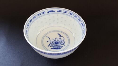 Chinese vintage Art Deco oriental antique blue /& white translucent bowl