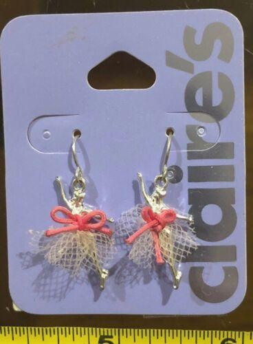 Claires pendientes de plata de bailarina bailarina Claire/'S Lindo Lazo Rosa Joyería Rrp £ 5