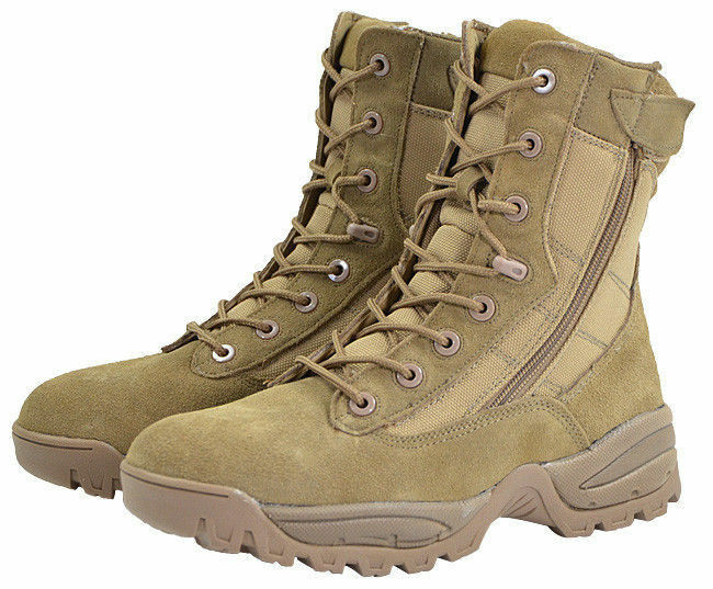 Mil-Tec 8 Hole Lacing TWO-ZIP Tactical Military Security Boots Coyote Tan