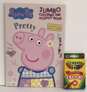 New-2-Piece-Set-Peppa-Pig-Jumbo-Coloring-amp-Activity-Book-Crayons