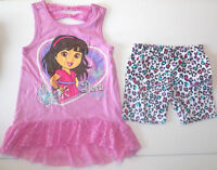 Dora The Explorer Girls Short And Shirt Outfits Size 5, 6 And 6x