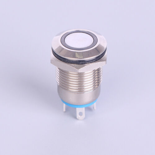 12mm Metal Annular Push Button Black Switch Ring LED Light Momentary LatchYRDE