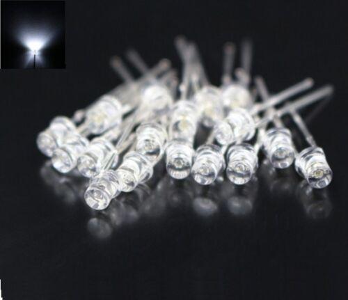 50PCS F3 3MM FLAT TOP LED WHITE SUPER BRIGHT Wide Angle Leds Lamps NEW
