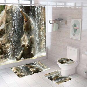 Elephant-Bathroom-Rug-Set-Shower-Curtain-Thick-NonSlip-Toilet-Lid-Cover-Bath-Mat