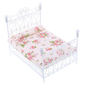 1:12 White Metal Double Bed Dollhouse Miniature Furniture Bedroom Accessory