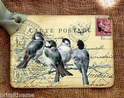 Hang Tags  FRENCH BIRD POSTCARD TAGS or MAGNET #648  Gift Tags