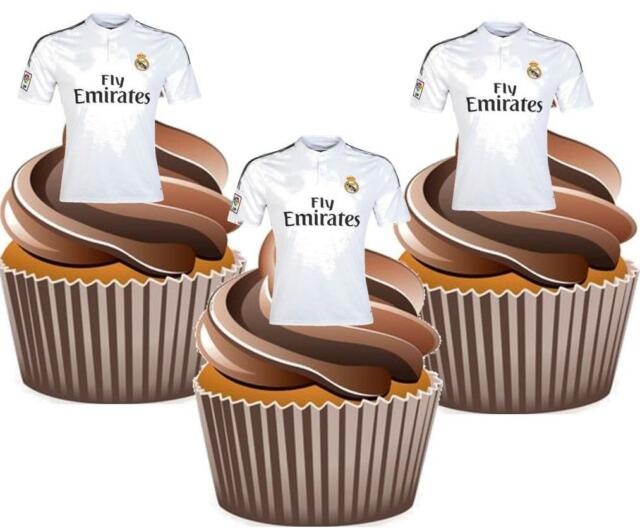 12 X Real Madrid Fc Football Shirts Cake Toppers Edible Decorations