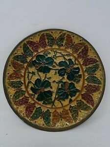 Details About Fl Br Enamel Plate Wall Decor Flower Lily India 8 Vintage