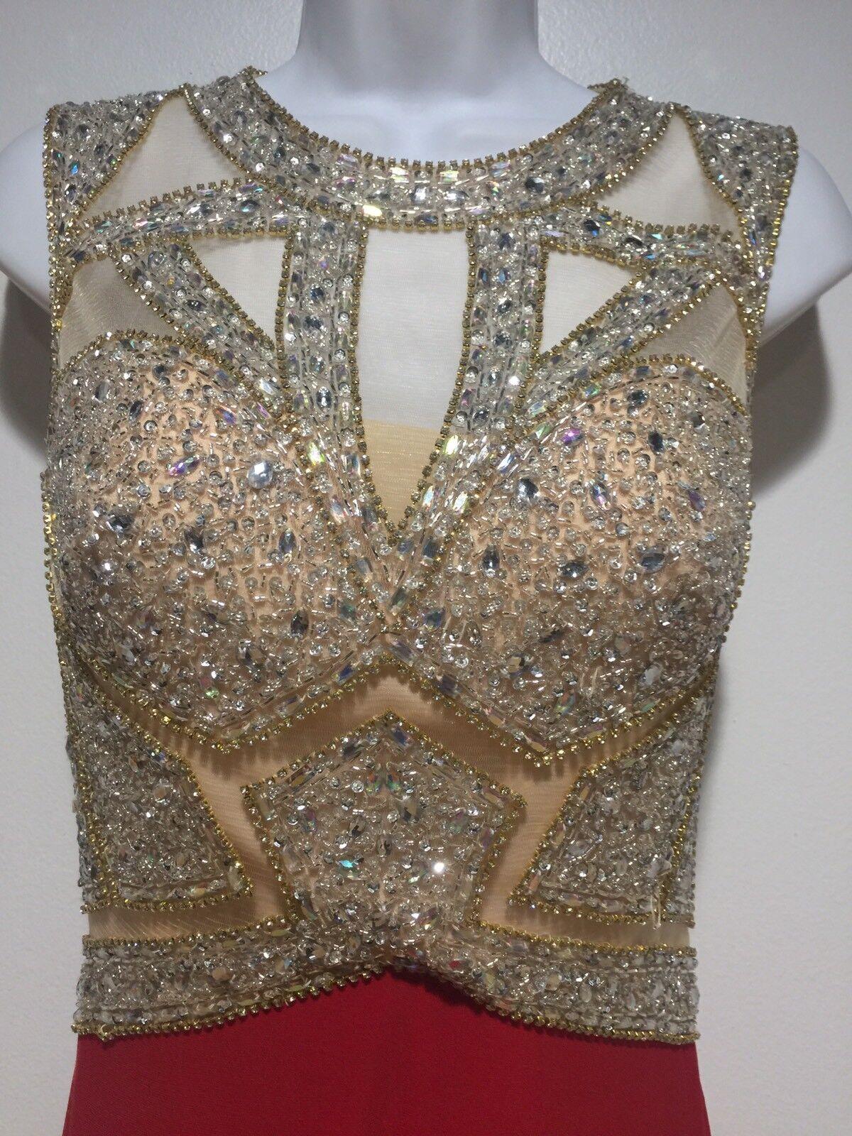 Maxi Dress Größe 6 rot Beige Embellished Cut Out Sheer Open Back Prom Formal
