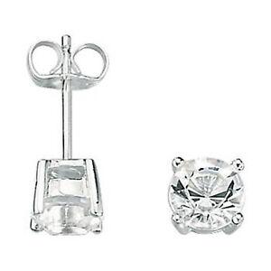 Fred-Bennett-Silver-Men-039-s-Earrings-Clear-Crystal-Stud-Earrings-E2657C