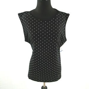 NEW-Karen-Scott-Womens-Petites-XL-Polka-Dot-Tank-Top-Black-White-NWT