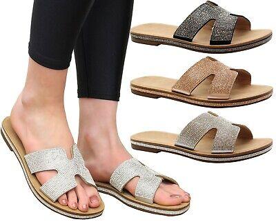 Womens Low Wedge Sandals Diamante Summer Ladies Size Ladies Strap Beach Peep Toe