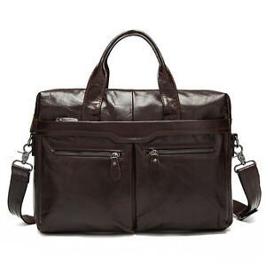 Mens-Genuine-Soft-Leather-Business-Briefcase-Attache-Laptop-Bag-Work-Office-Bags