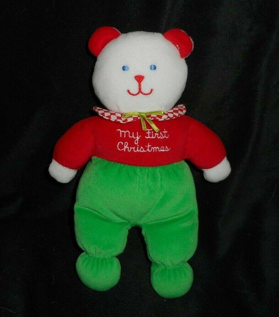 Vintage Eden Mi Primer Oso De Peluche verde Y Rojo Navidad PELUCHE ANIMALES PELUCHE