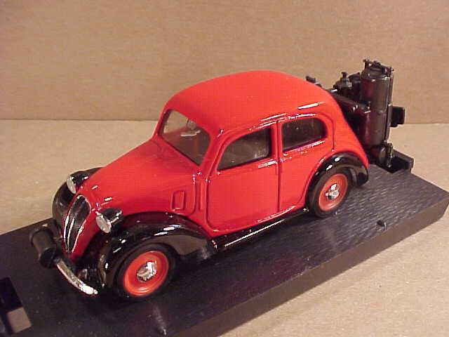 Brumm 1 43 Diecast 1937-39 Fiat 508 C Berlina 1100 w Gas Generator, Red  R33B