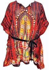 QUALITY EAONPLUS RED MIX TIE DYE & BATIK PRINT COVER UP KAFTAN SIZE 24 26 28