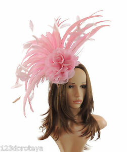Image is loading Candy-Pink-Fascinator-Hat-for-Weddings-Ascot-WIth- b109d54976f
