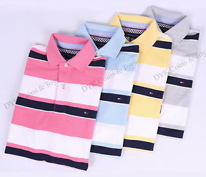NEW-TOMMY-HILFIGER-MEN-039-S-CLASSIC-STRIPE-PIQUE-MESH-POLO-SHIRT-FREE-SHIPPING