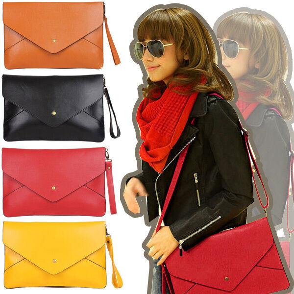 2015 New Fashion Women Envelope Clutch Handbag Shoulder Tote Bag PU Bags