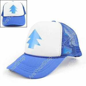 624254ab45b1a Dipper Hat Bill Blue Pine Tree Cap Gravity Falls Cartoon Curved Cap ...
