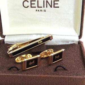 GoldtoneBlack cuff links and tie bar