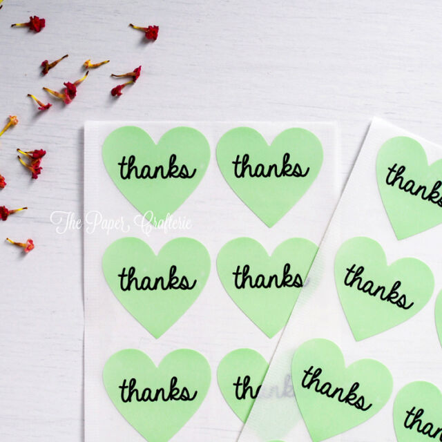 MINT GREEN HEART THANKS STICKERS Thank You Stickers Labels Bombonieres 60 pcs
