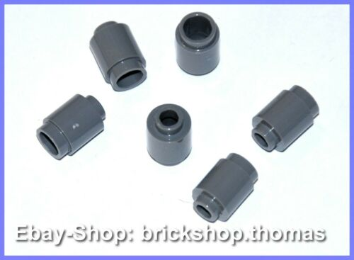 LEGO 6 x pierres environ Gris 3062b-Brick Round 1x1 Dark Bluish Gray-NEUF//NEW