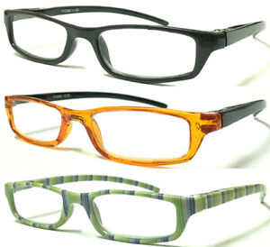L266T-Mens-Womens-Small-Pocket-Style-Plastic-Reading-Glasses-Spring-Hinges-Arms