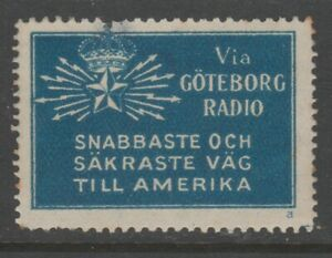 Sweden-America-Telegraph-Cinderella-stamp-7-9-17-scarce-item-no-gum-small-fault