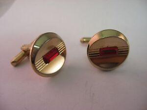 Vintage Cufflinks for Men Red Jewel Center Round Gold Tone Design