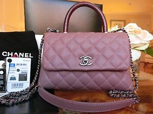 1b43c767384f CHANEL CoCo Handle Pink Caviar Mini Classic Flap Burgundy Lizard ...