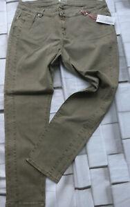 Jeans-Trousers-Ladies-Pure-Fashion-Stretch-Size-44-to-48-Khaki-Tone-592
