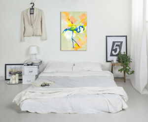 Flamingo-90x60cm-Aquarell-Art-Leinwandbild