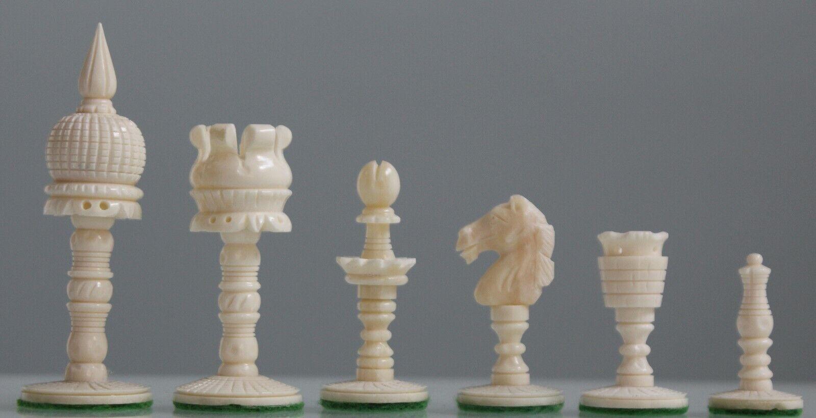 Bone Chess Piece Set, unique Dome style collector voiturerées avec  3.5  King Felt Pads  service de première classe