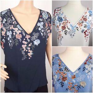 NEW-Ex-BM-Ladies-Floral-print-Cold-Shoulder-Blouse-Top-Size-10-24
