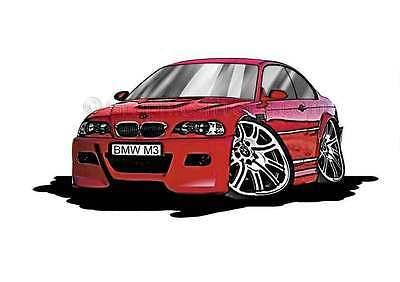 Bmw M3 E46 Red Caricature Car Cartoon A4 Print Ebay