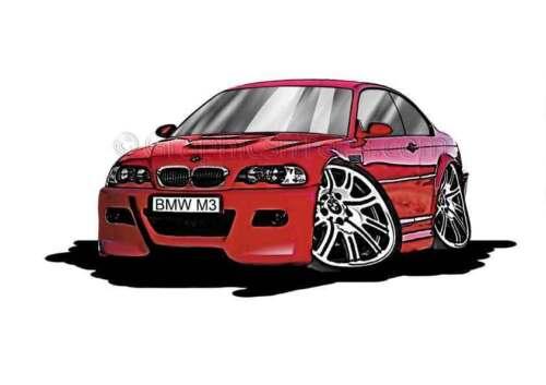 E46 Red Caricature Car Cartoon A4 Print BMW M3