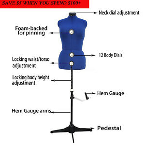 GEX-13-Dials-Adjustable-Dress-Form-Sewing-Female-Mannequin-Torso-Stand-Medium