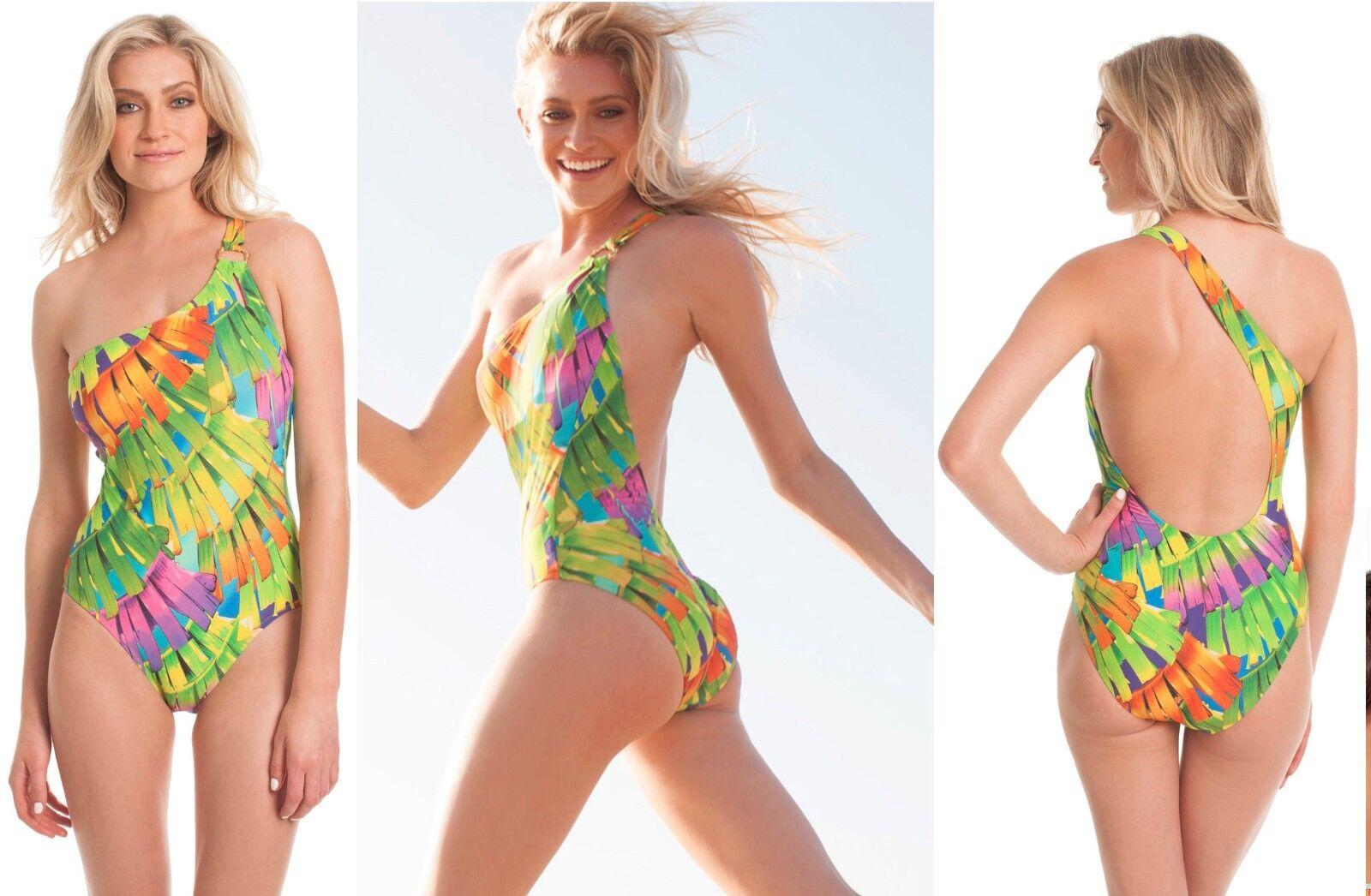 148 Trina Turk Polynesian Palms One Shoulder One Piece Swimsuit