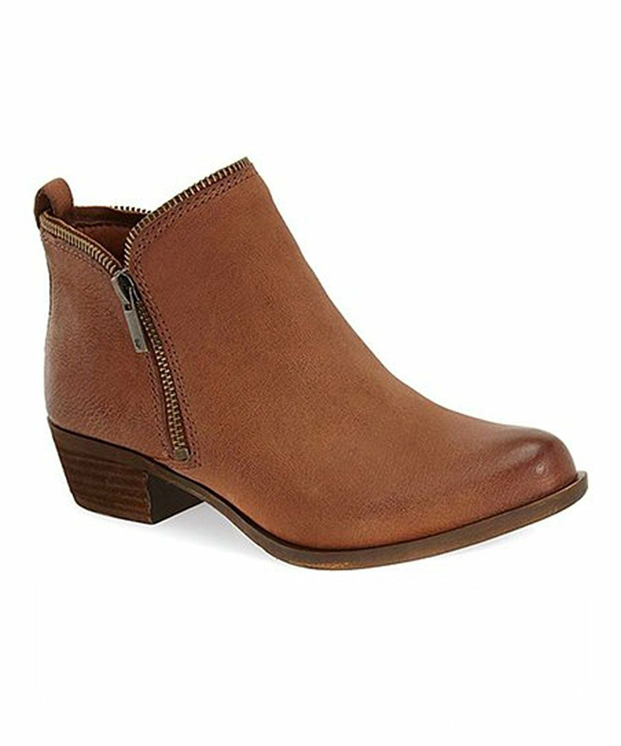Lucky Brand Women's Bartalino Dual Side Zip Leather Ankle Boots Whiskey Brown