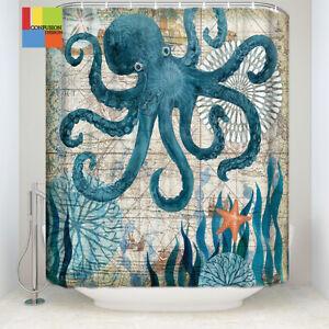 Octopus-Bathroom-Polyester-Shower-Curtain-Toilet-Non-Slip-Rug-Floor-Mat-g-W