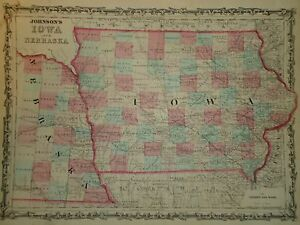 VINTAGE NEBRASKA IOWA MAP OLD ANTIQUE ORIGINAL WORLD ATLAS MAP - Vintage iowa map